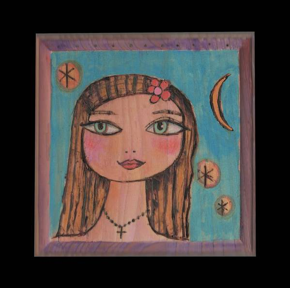 Folk Art Style Island Girl Art Print featuring the mixed media Girl With Cross by Trish Marcum