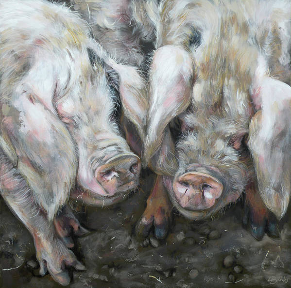 Pigs Art Print featuring the painting Gloucester Old Spots by Leigh Banks
