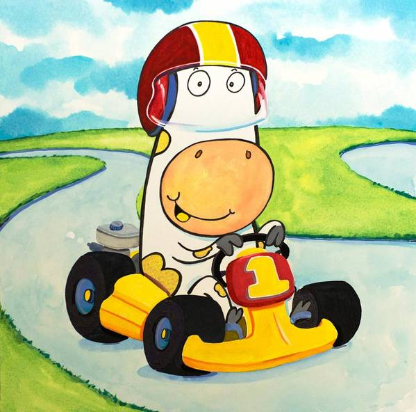 Cow Art Print featuring the painting Go Cart Cow by Scott Nelson