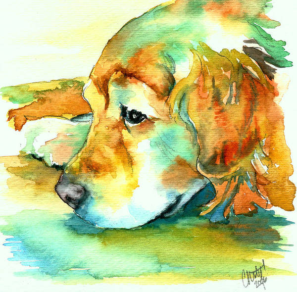 Golden Retriever Art Print featuring the painting Golden Retriever Profile by Christy Freeman