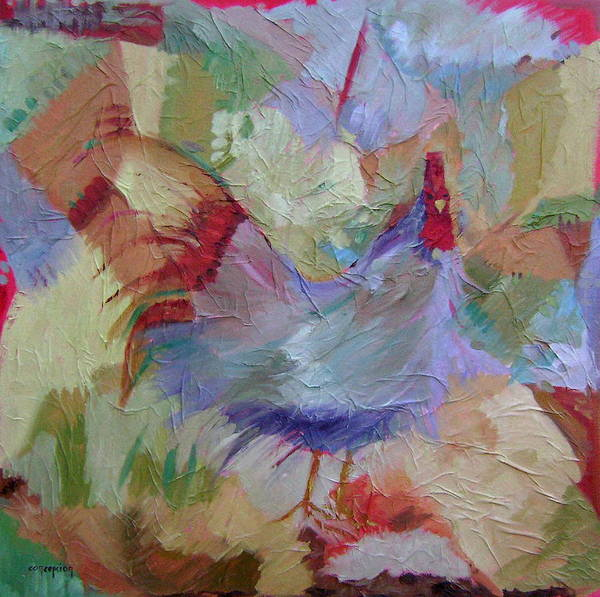Chicken Paintings Art Print featuring the painting Good Morning by Ginger Concepcion