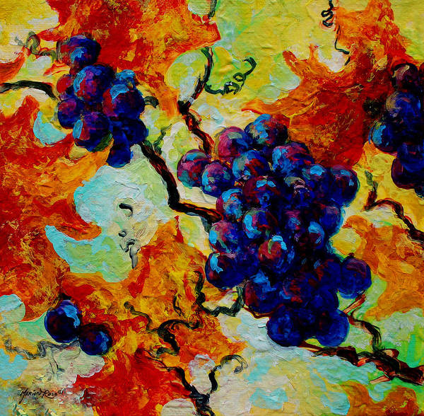 Grapes Art Print featuring the painting Grapes Mini by Marion Rose