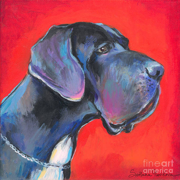 Great Dane Painting Print featuring the painting Great Dane Painting by Svetlana Novikova