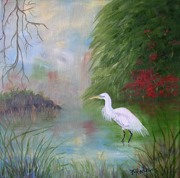 Egret Art Print featuring the painting Great White Egret by Barbara Harper