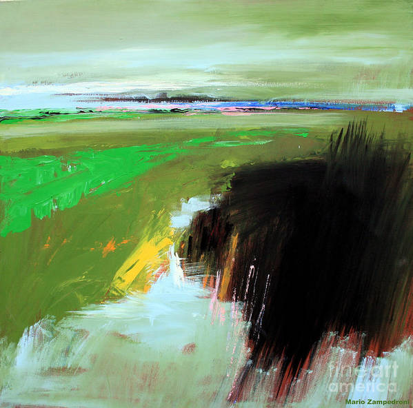 Abstract Landscape Art Print featuring the painting Green Field by Mario Zampedroni