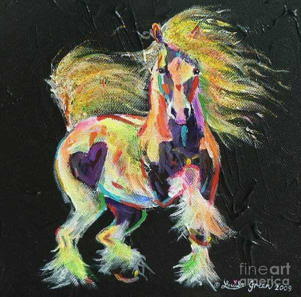Gypsy Horse Pony Pinto Coloured Equine Cob Vanner Love Heart Rainbow Fluoro Art Print featuring the painting Gypsy Gold Pony by Louise Green