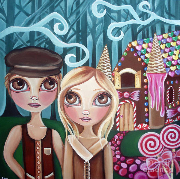 Hansel Art Print featuring the painting Hansel And Gretel by Jaz Higgins