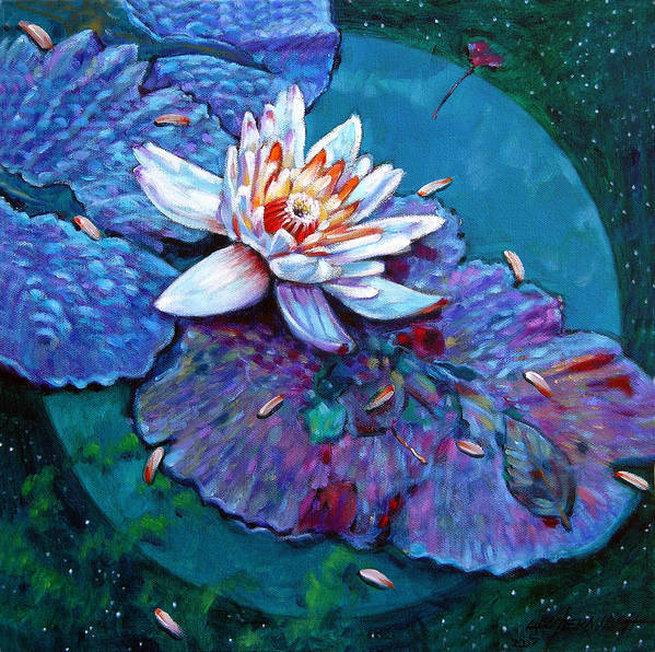 Water Lily Art Print featuring the painting Harvest Moon by John Lautermilch
