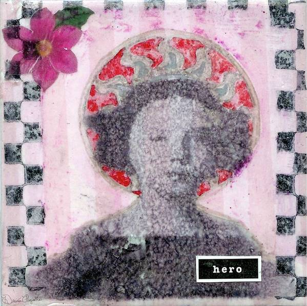 Pink Art Print featuring the mixed media Hero by Desiree Paquette