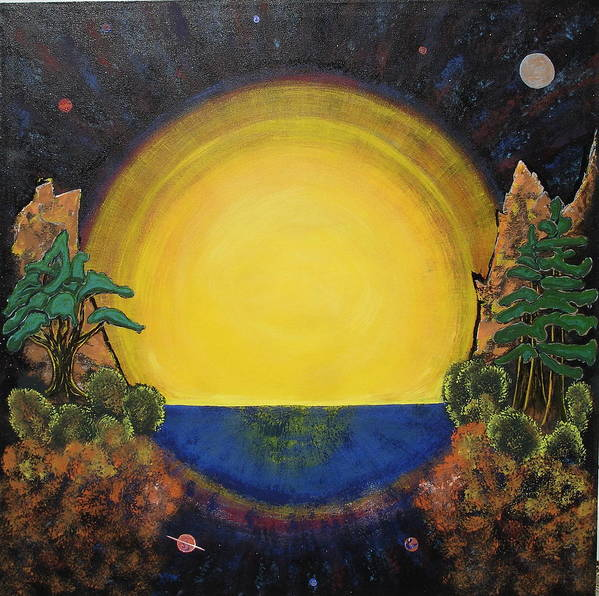 Sunset Mountain Cosmic Space Ocean Golden Art Print featuring the painting High Mountain Sunset by Eric Singleton