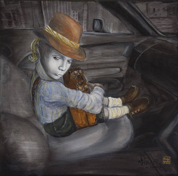 Boy Art Print featuring the painting Hitchhiker by Nik Helbig