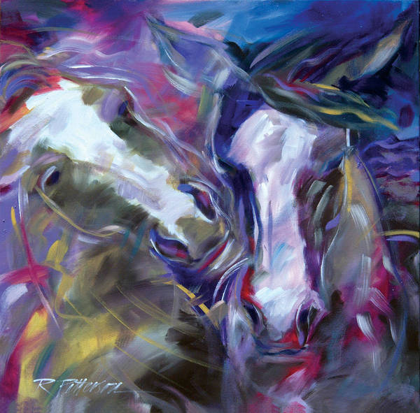 Nature Art Print featuring the painting Horse Play by Ron Patterson