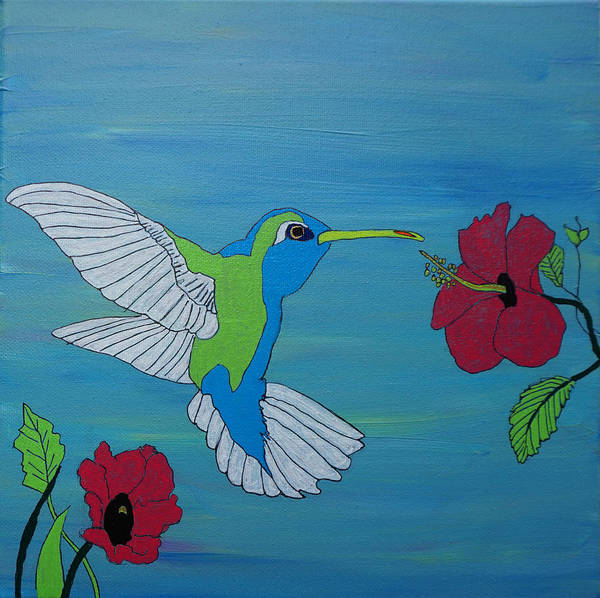 Hummingbird Art Print featuring the painting Hummingbird And Flowers by Katherine Klauber