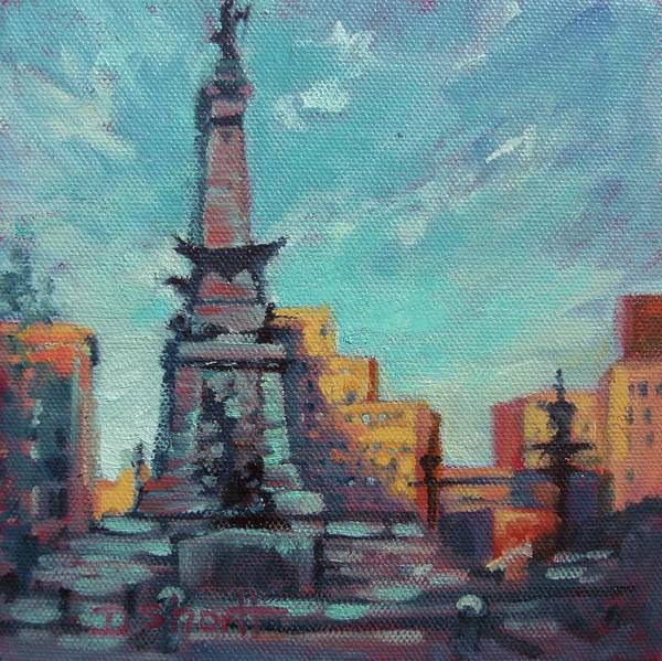 Indianapolis Print featuring the painting Indy Circle- Day by Donna Shortt