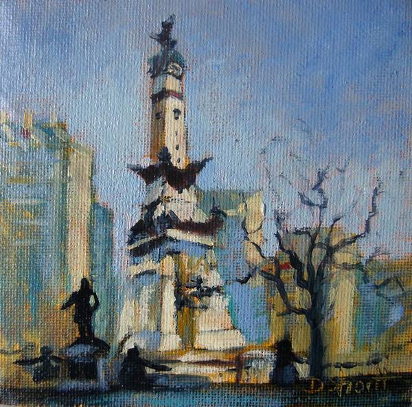 Indianapolis Art Print featuring the painting Indy Circle Monument by Donna Shortt