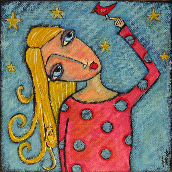 Girl Art Print featuring the painting Into The Night by Trine Stasica