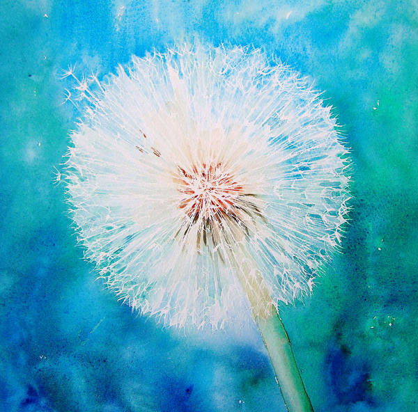 Dandelion Art Print featuring the painting Jade Dandelion by Ruth Harris