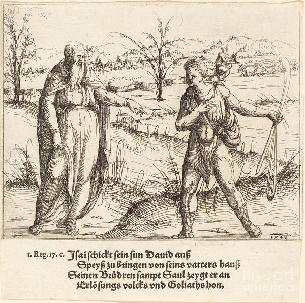 Art Print featuring the drawing Jesse Sends David To His Brothers And Saul by Augustin Hirschvogel