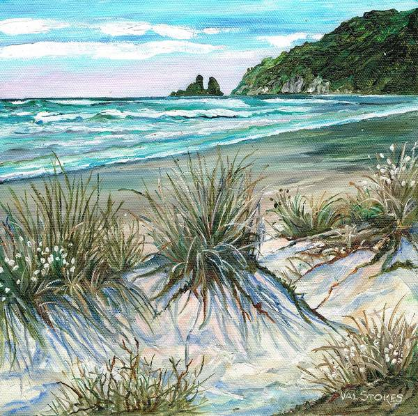 Dunes Art Print featuring the painting King Tide-whangamata Nz by Val Stokes