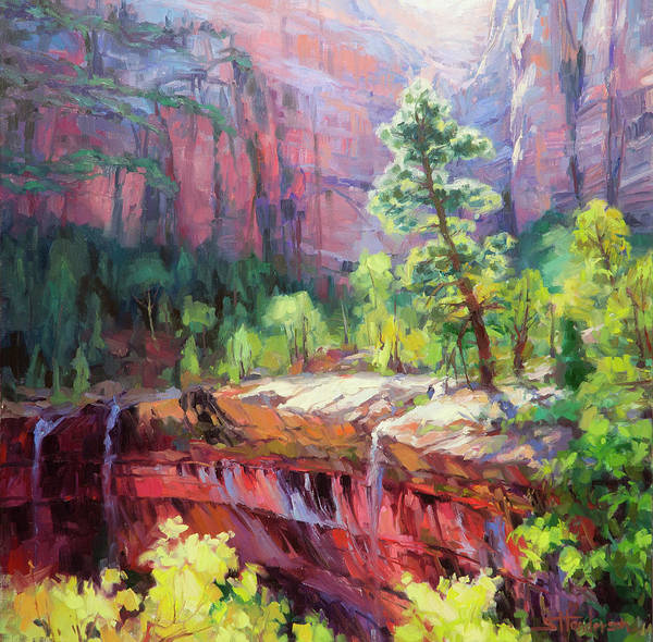Zion Art Print featuring the painting Last Light In Zion by Steve Henderson