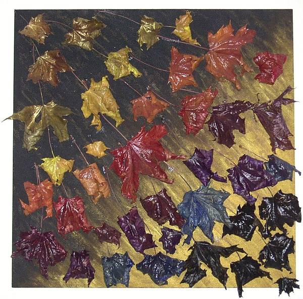Leaves Falling Autumn Art Print featuring the painting Let It Go by Sally Van Driest