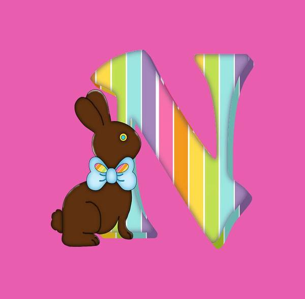 6a0bb3488 Monogram Art Print featuring the digital art Letter N Chocolate Easter  Bunny by Debra Miller