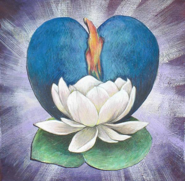 Lotus Art Print featuring the mixed media Lotus Heart Light by Jo Thompson