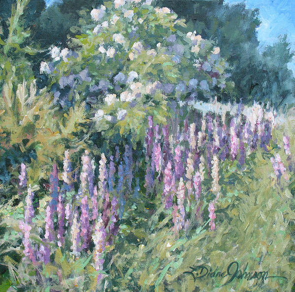 Lupine Field Art Print featuring the painting Lupine On Parade by L Diane Johnson