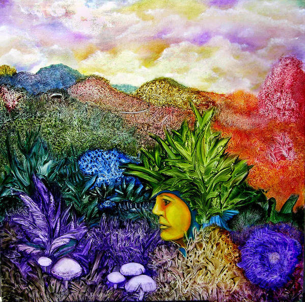 Montain Art Print featuring the painting Magic Mushrooms by Fernando Armel