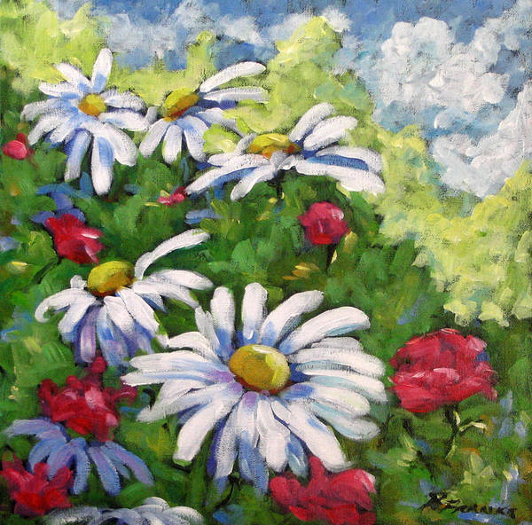 Daysy Art Print featuring the painting Marguerites 002 by Richard T Pranke