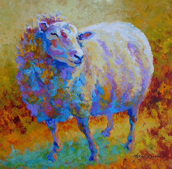Llama Art Print featuring the painting Me Me Me by Marion Rose