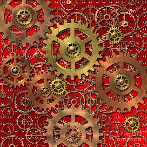 Mechanical Art Print featuring the digital art Mechanism by Michal Boubin