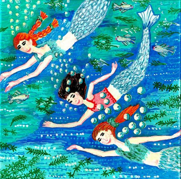 Sue Burgess Art Print featuring the painting Mermaid Race by Sushila Burgess