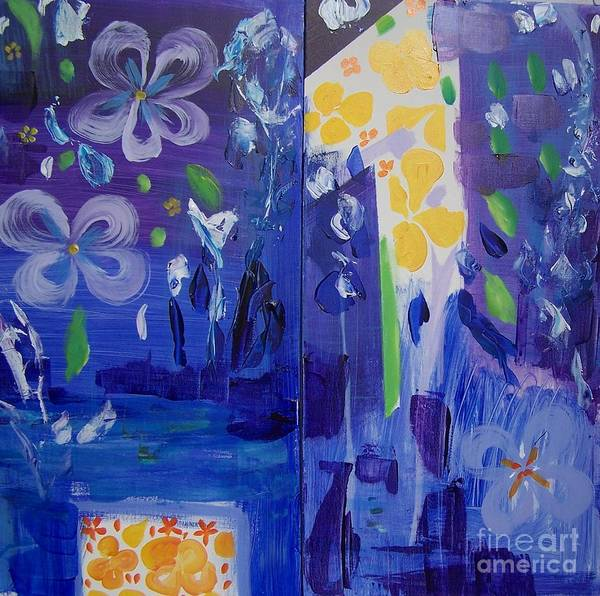 Blue Flowers Art Print featuring the painting Midnight Blue by Geraldine Liquidano