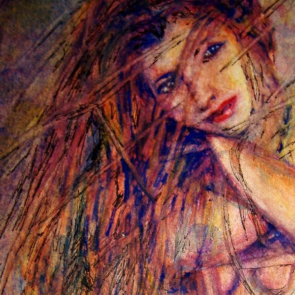 Woman Art Print featuring the painting Misty - Watercolor by Donna Hanna