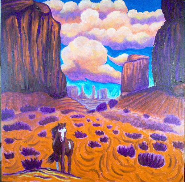 Landscape Art Print featuring the painting Monument Valley by Steve Lawton