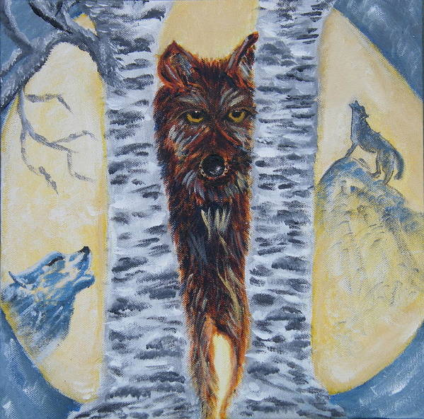 Wolves Art Print featuring the painting Moon Of The Wolves by Margaret G Calenda