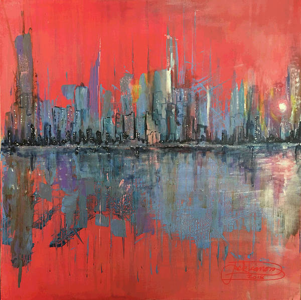 Manhattan Art Print featuring the painting Morning Reflects Illusion by Jack Diamond