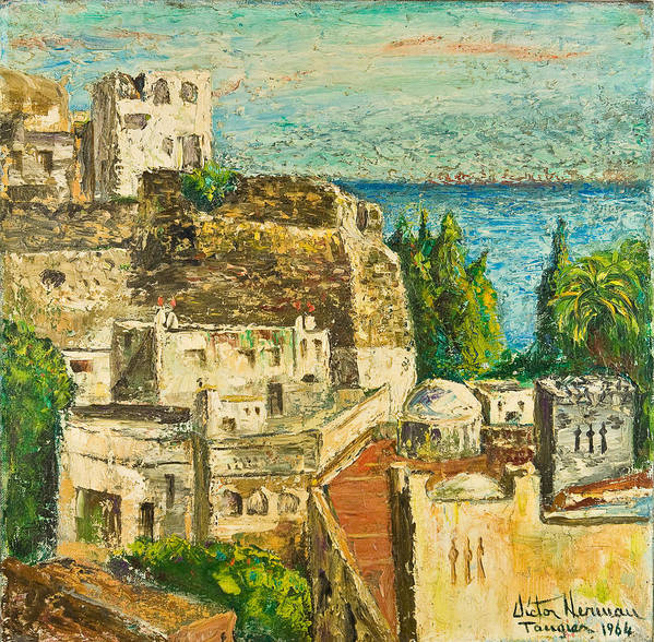 City Art Print featuring the painting Morocco Palette Knife In Oil By Victor Herman by Joni Herman