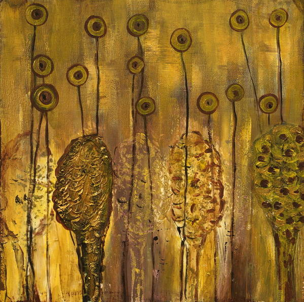 Organic Art Print featuring the painting Myxomycetes by Angela Dickerson
