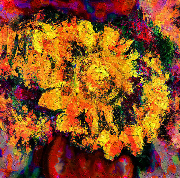 Sunflowers Art Print featuring the mixed media Natalie Holland Sunflowers by Natalie Holland