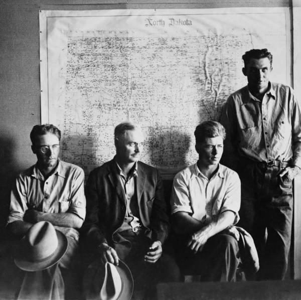 History Art Print featuring the photograph North Dakota Farmers Waiting by Everett