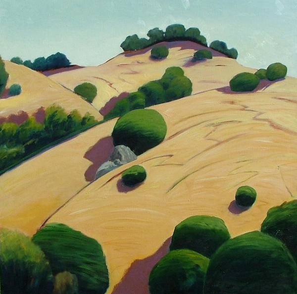 Rolling Hills Art Print featuring the painting Oak Topped by Gary Coleman