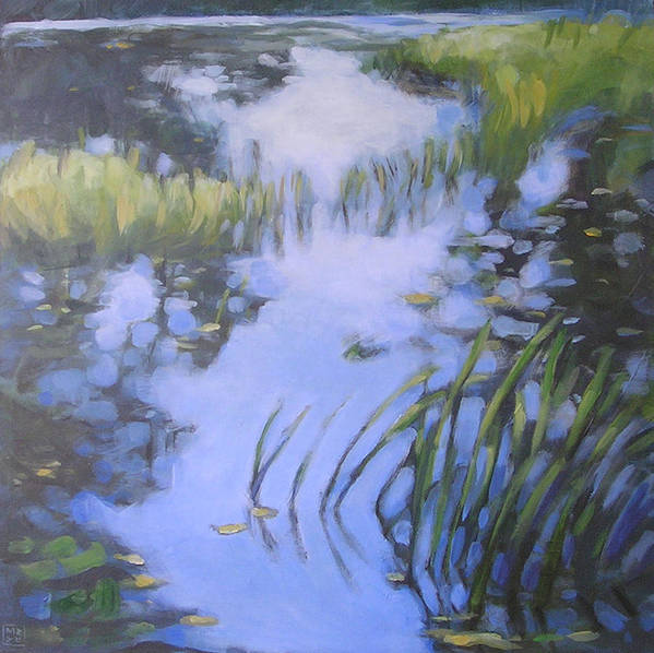 Landscape Art Print featuring the painting On Calm Reflection by Mary Brooking