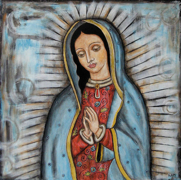 Folk Art Paintings Art Print featuring the painting Our Lady Of Guadalupe by Rain Ririn