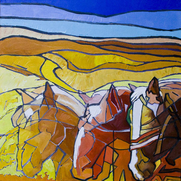 Horses Art Print featuring the painting Palouse Trio by Gregg Caudell