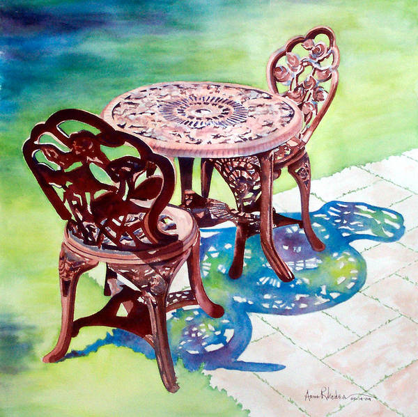 Still Life Art Print featuring the painting Patio by Anne Rhodes