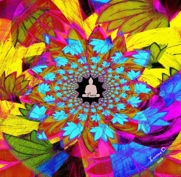 Buddha Art Print featuring the painting Peace Buddha Meditation by Lorena Oliver