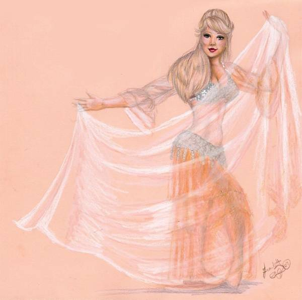 Belly Dancer Art Print featuring the drawing Peachy Dancer by Scarlett Royal
