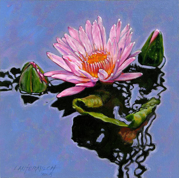 Water Lily Art Print featuring the painting Pink Lily With Dancing Reflections by John Lautermilch